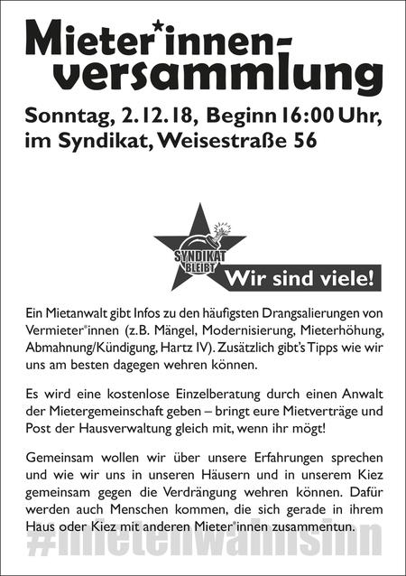 Mieterinnen Versammlung Schillerkiez 2 Dez 2018 Nachrichten Aus