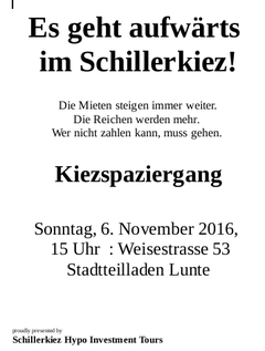 Kiezspaziergang am 6. November im Schillerkiez