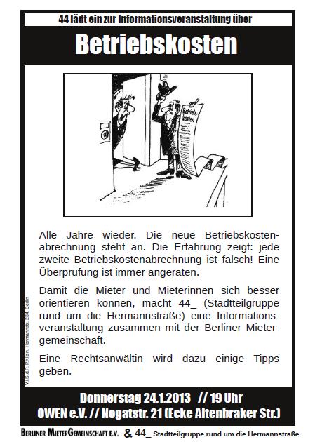 Veranstaltung Betriebskostenabrechnung Jan 2013