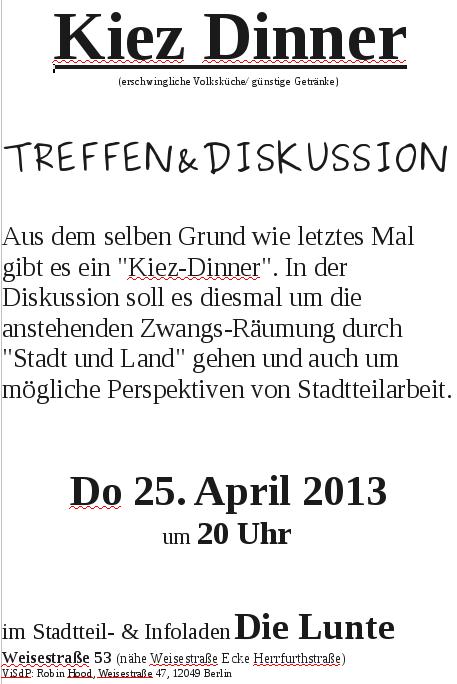 Kiez-Dinner 25. April