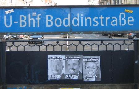 Plakate Mieterpartei U-Bhf Boddinstrasse