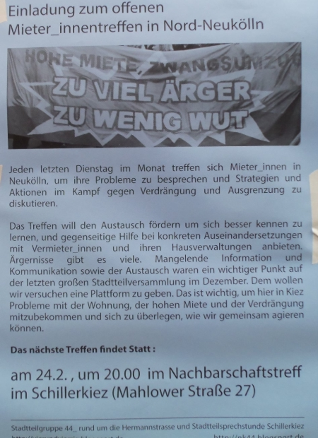 Mieter_innen-Treff Schillerkiez 24.2.2015