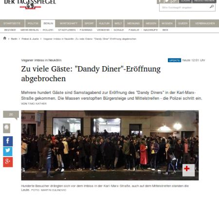Eröffnung Dandy Diner abgebrochen
