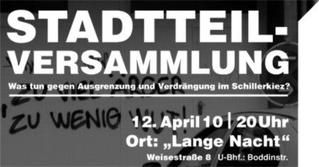 Stadtteilversammlung 12. April 2010