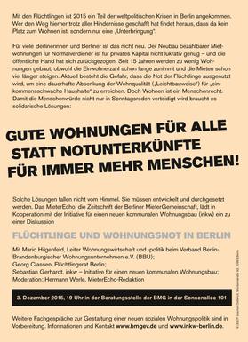 Veranstaltung Flüchtlinge und Wohnungsnot