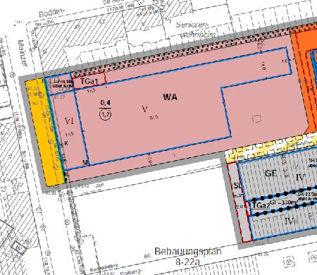 Ausschnitt aus Bebauungsplan 8-22ba Ehemalige Kindl-Brauerei