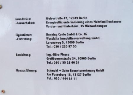 Bauinformation Weisestr. 47