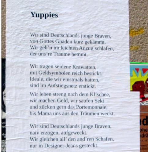 Gedicht über Yuppies